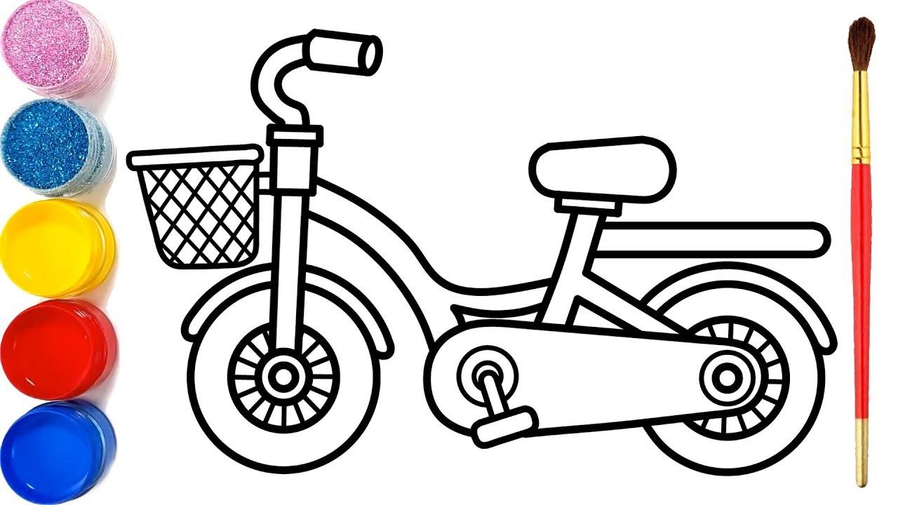 Vẽ xe đạp đơn giản và tô màu cho bé | Dạy bé vẽ | Dạy bé tô màu | Sepeda Halaman Mewarnai
