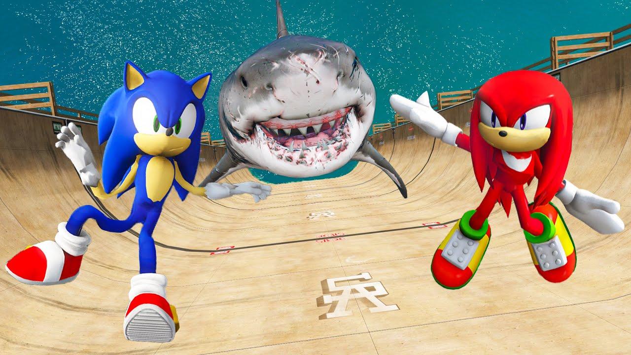 GTA 5 Sonic vs Knuckles Water Ragdolls & Fails Ep.2 [Euphoria Physics / Flooded Los Santos]