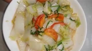 cách làm rau cải thảo xào tỏi giòn ngon.