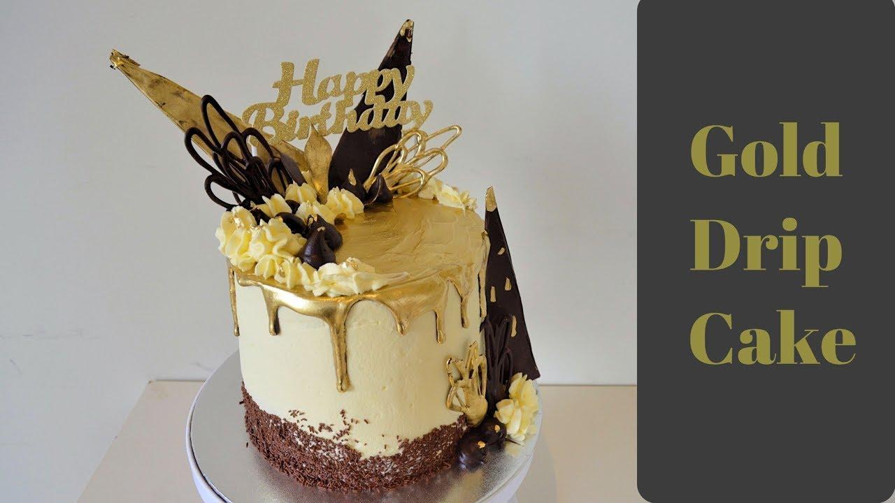 Gold Drip Cake Chocolate Cream Cake Tutorial Youtube