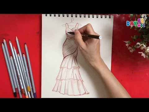 Tập thiết kế thời trang   Hướng dẫn vẽ váy chiffon sang chảnh   Dạy bé học