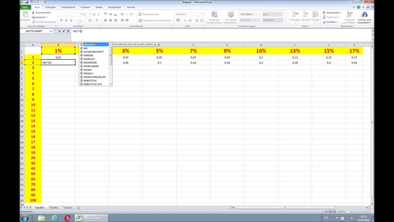 Prozentrechnen In Excel So Funktionierts Youtube