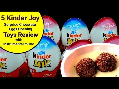 5 Kinder Joy Surprise Chocolate Eggs Opening Toys & Review | Instrumental music | www.rtvSpeaks.com