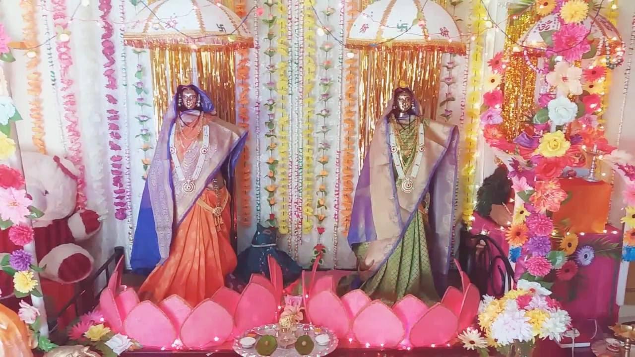 Gauri Ganpati Decoration At Home Photos