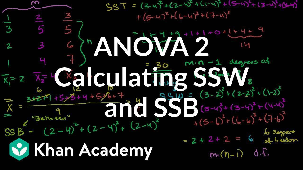 anova 2 calculating ssw and ssb total sum of squares