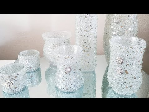 HOW TO REVAMP UPCYCLED BLING VASES USING LARGER PIECES OF CRUSHED GLASS