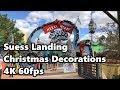 Suess Landing Christmas Decorations 4K 60fps | Universal Studios | Islands of Adventure
