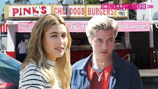 Hailey Baldwin & Lucky Smith Shoot For Tommy Hilfiger Denim At Pink's Hot Dogs 4.19.16 ラッキーブルースミス 検索動画 9