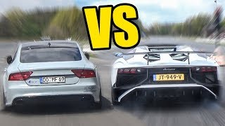 AUDI RS7 vs LAMBORGHINI AVENTADOR - SOUND BATTLE!