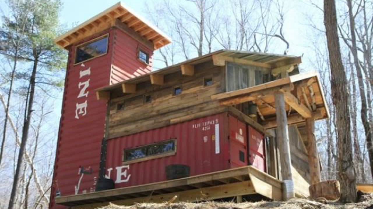 shipping container house in woods