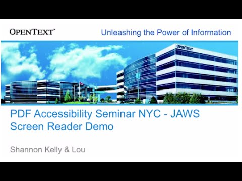 PDF Accessibility Seminar NYC JAWS Screen Reader Demo