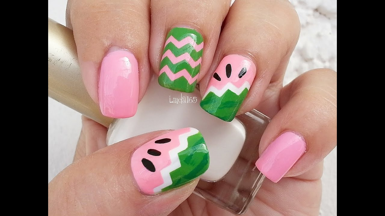 Nail Art Fruit Series Watermelon Nails Decoracion De U 241 As Youtube