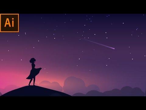 Night Scene Vector Illustration | Adobe Illustrator Tutorial