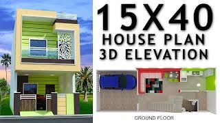 15X40 House plan with car parking and 3d elevation by nikshail
