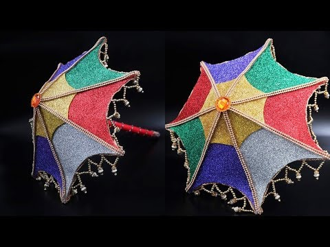 Kids Room Decor / DIY Paper Umbrella Ideas for Birthday Party / Glitter Paper Sheet Craft Umbrella
