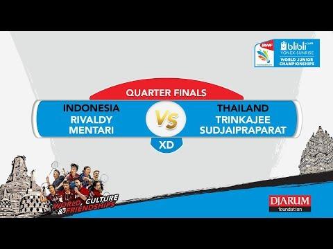WORLD JUNIOR CHAMPIONSHIPS 2017 |XD Q FINALS| RIVALDY/MENTARI(INA) vs TRINKAJEE/SUDJAIPRAPARAT(THA)