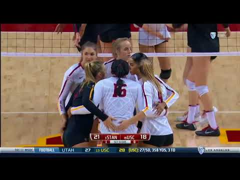 Women's Volleyball: USC 1, Stanford 3 - Highlights 10/15/17