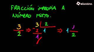 De fracción impropia a número mixto. - Aritmética - Educatina