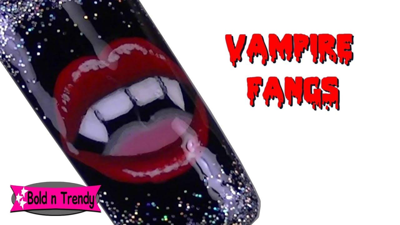 Vampire Fangs - Halloween nail tutorial - YouTube