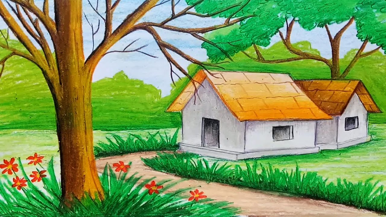 how to draw landscape with oil pastel step by step very simple