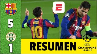 Barcelona 5-1 Ferencváros goles de Messi, Ansu Fati, Coutinho, Pedri y Dembélé | Champions League