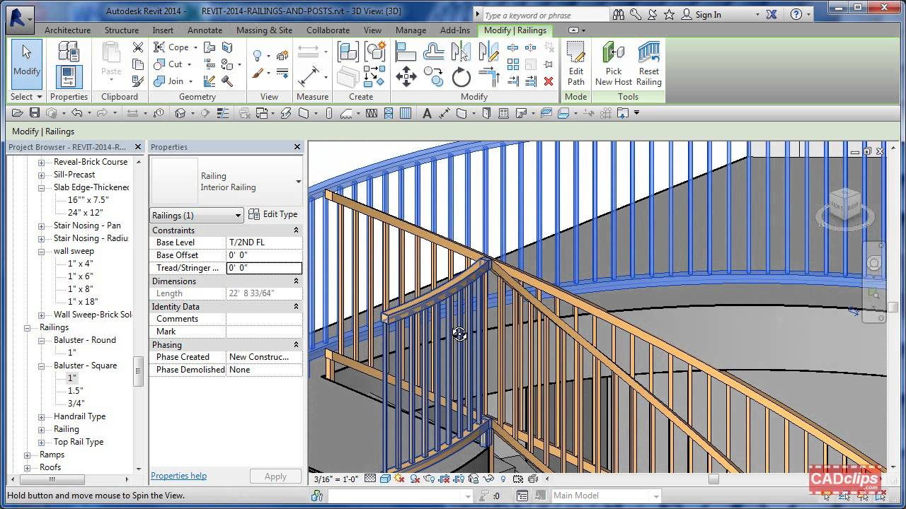 Cadclip Revit Railing And Posts Tips Youtube