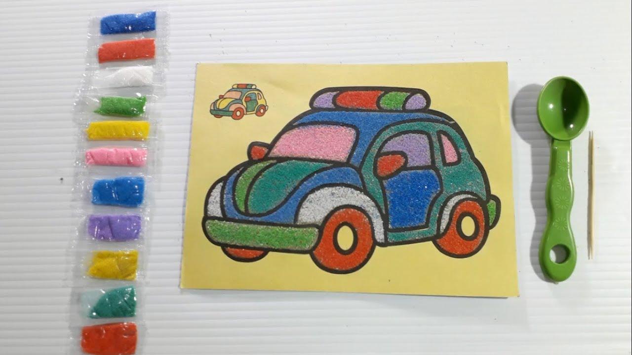 Mewarnai Dengan Pasir Warna Mobil Kodok Sand Painting Youtube