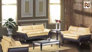 Two Tone Bonded Leather Sofa Set With Sofa Bed Vgdm2819