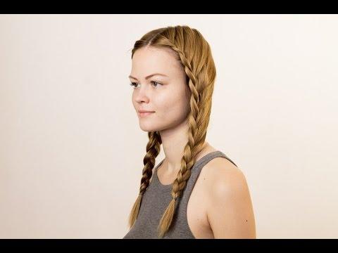 Прическа на лето. Две косички. Hairstyle for the summer