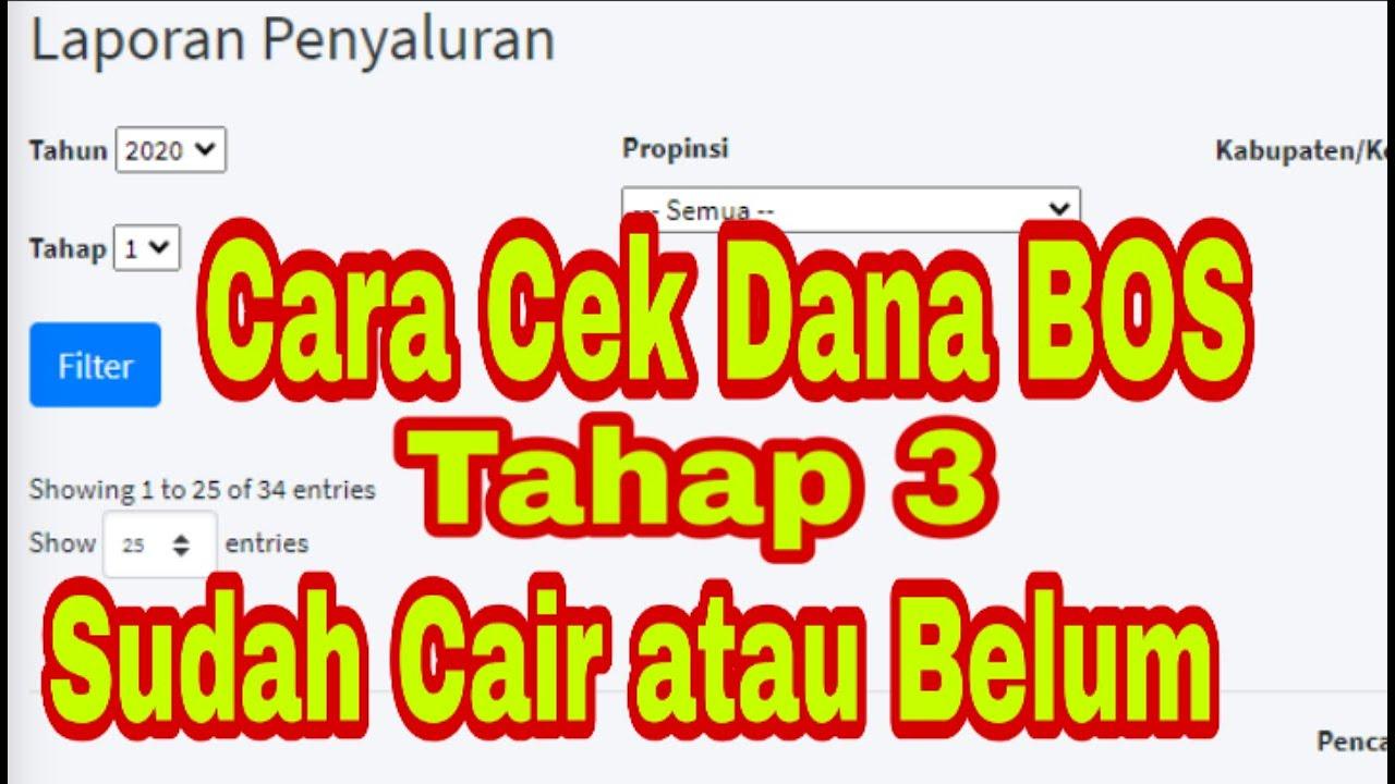 Cara Cek Dana Bos Tahap 3 Sudah Cair Atau Belum Di Portal Bos Bos Kemdikbud Go Id Calon Guru Youtube
