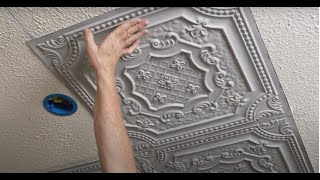 How to cover popcorn ceiling with decorative ceiling tiles