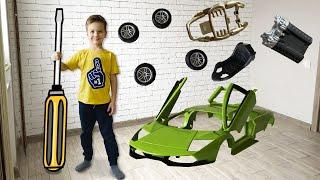 Собрал Машинку Lamborghini Murcielago SV из конструктора. Видео для детей.