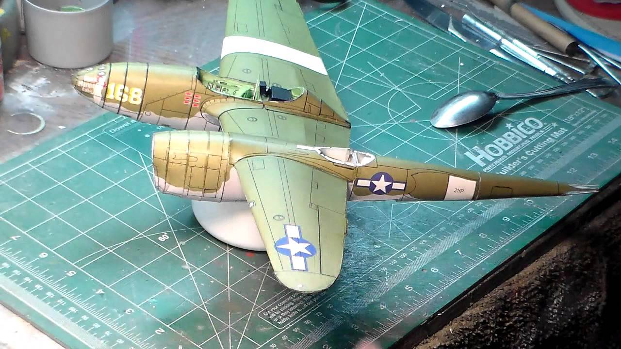 Papercraft FLY MODEL  P38 J LIGHTNING   paper model video 2