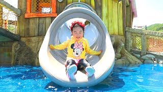 BORAM BERMAIN GELOMBANG AIR DI KOLAM RENANG Kids Playing Water and Slide