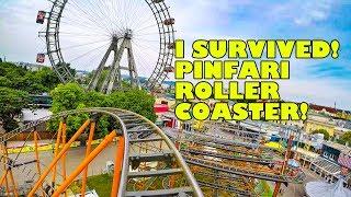 Robb Survives Pinfari Roller Coaster! Wiener Prater Austria - Front Seat POV
