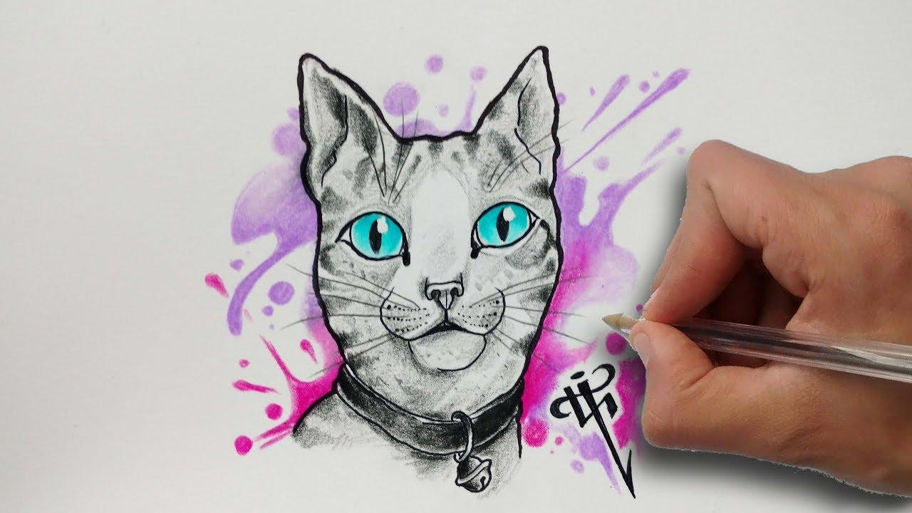Diseño Gato Acuarela Aquarelle Cat Design Nosfe Ink Tattoo Youtube