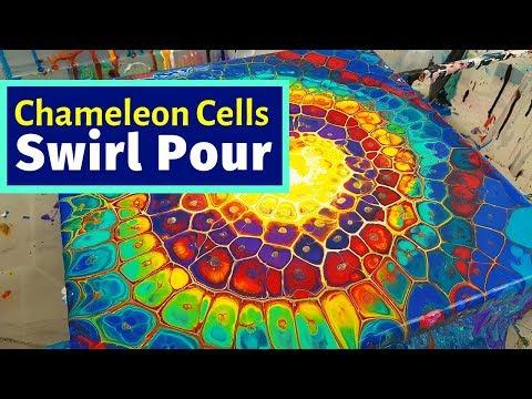 Chameleon Cells Swirl Pour - MUST SEE!🤩🌈 Tie-Dye effect??? Acrylic Pour Painting Technique
