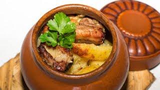 Картошка в горшочках с мясом. Рецепт