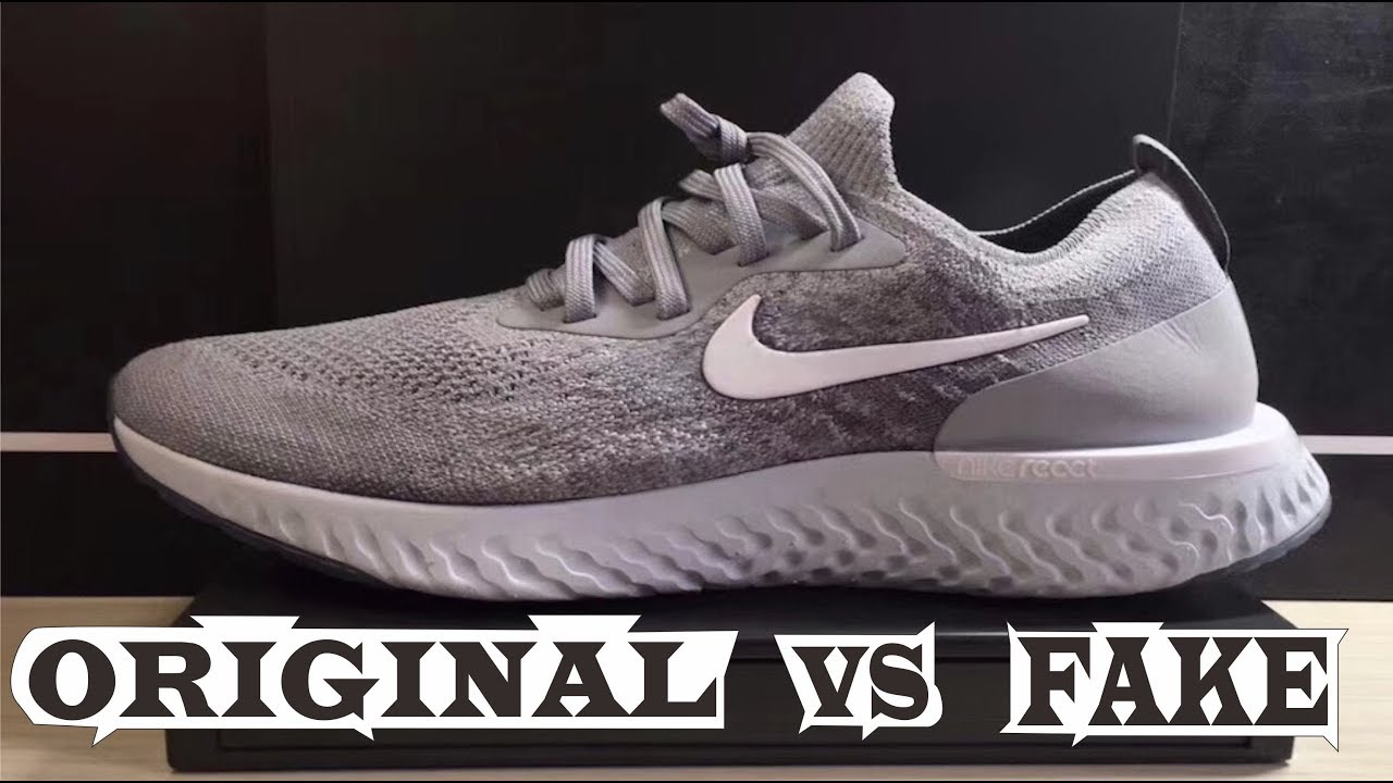 95c1fd44deeb0 Nike Epic React Flyknit Grey Original   Fake - YouTube
