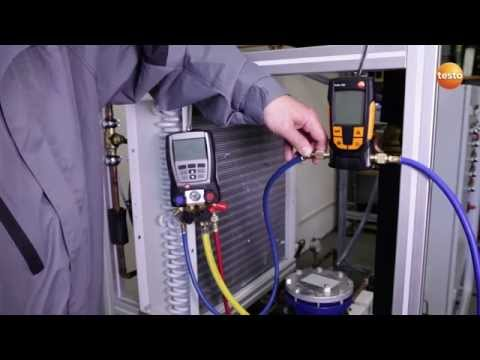 Evacuation of a refrigeration system with the vacuum measuring instrument testo 552 | Be sure. Testo