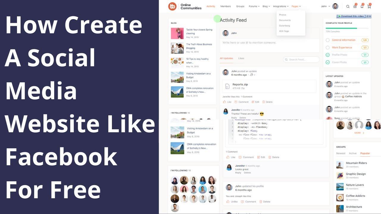 How Create A Social Media Website Like Facebook For Free in WordPress