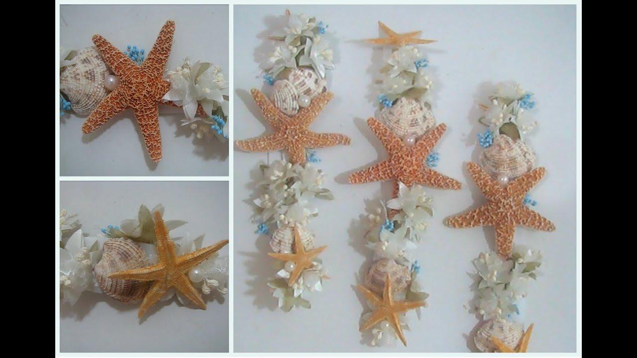 Corona diadema para el cabello con motivo del mar - Decoracion con conchas ...