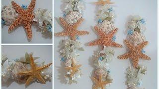 corona diadema para el cabello con motivo del mar estrellas de mar conchas perlitas y flores