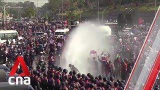 Myanmar coup: Police fire water cannon at protesters in Naypyidaw