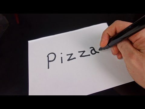 Very Easy How To Turn Words Pizza Into A Cartoon Art On Paper For Kids