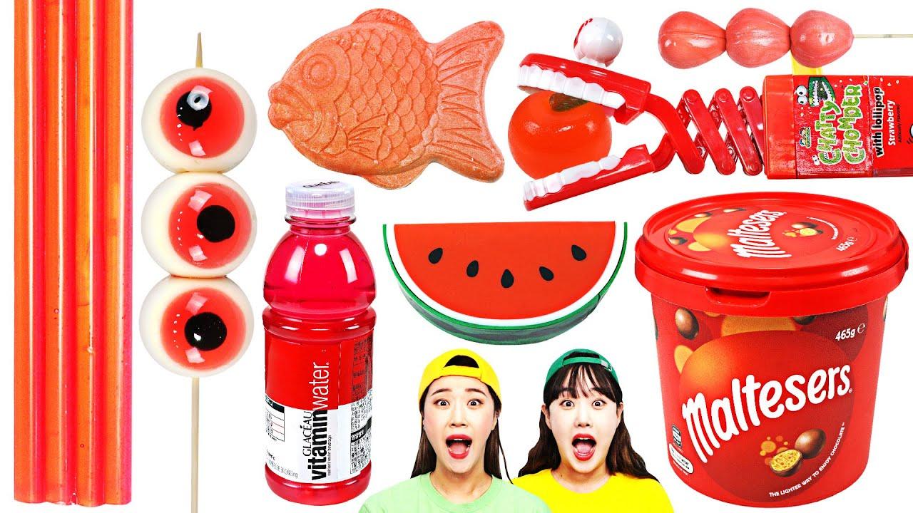 Red Color Food Mukbang Challenge by yomi yami