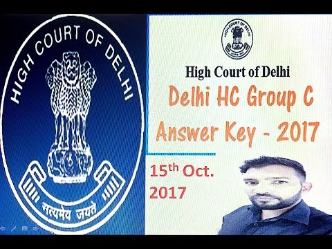 Delhi High Court Room Attendant Exam Answer Key On 15 Oct 2017