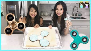FIDGET SPINNER Challenge: DIY GIANT fidget spinner cookie with Princess ToysReview
