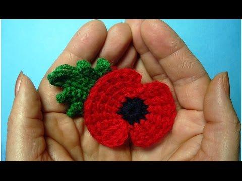 Traditional crochet poppy flower -  memory of First World War 11 november