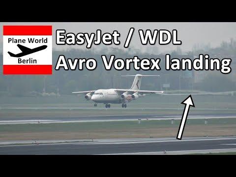 Vortex landing of an EasyJet / WDL BAe Avro 146-300 in Berlin TXL